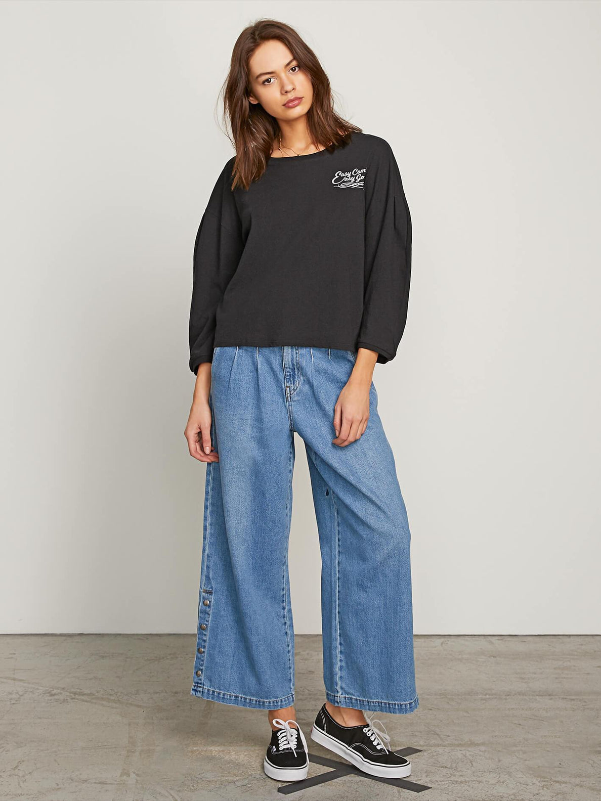Come Pleated Long Sleeve Tee - Black