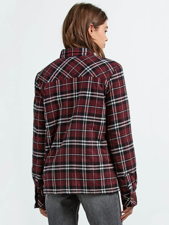 Camisa Plaid About You  - Burgundy