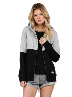 Lived In Color Blocked Zip Hoody - Heather Grey