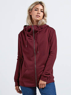 Sudadera Walk On By Zip Flce - Burgundy