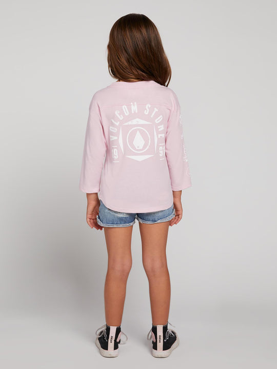 Little GIrls Team Volcom Long Sleeve Tee - Faded Pink (Niňo)
