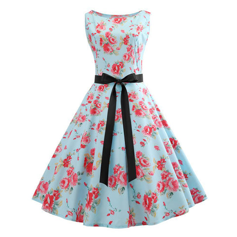 Image of Bowknot Ribbon 50s Tea Party Dress - Itopfox