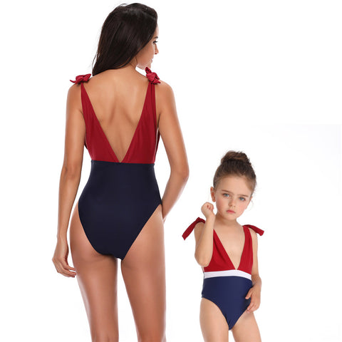 Deep V-Neck One Piece Swimwear - Itopfox