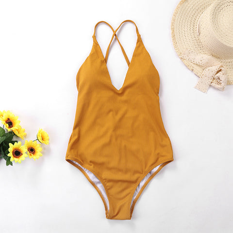 Image of Solid One Piece Bathing Suit - Itopfox