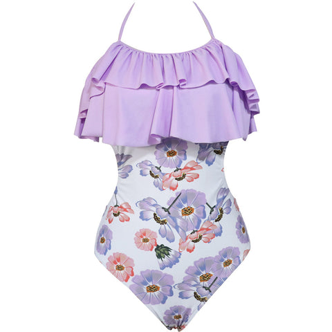 Image of Ruffle Halter Floral One Piece - Itopfox