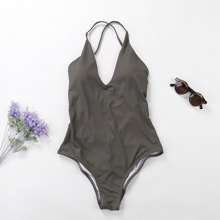 Solid One Piece Bathing Suit - Itopfox