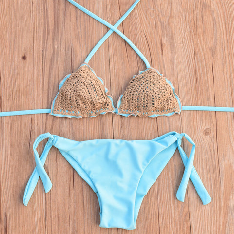 Knit Two Pieces Bikini Set - Itopfox