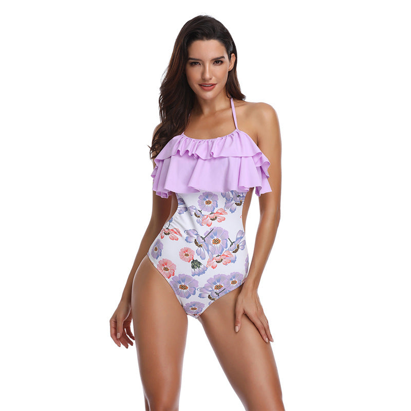 Ruffle Halter Floral One Piece - Itopfox
