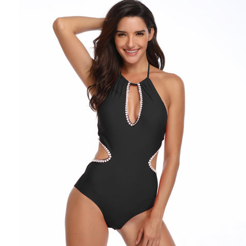 Image of Halter Hollow Out One Piece - Itopfox