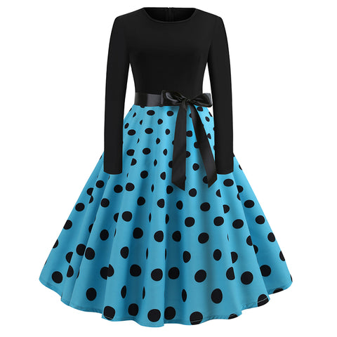 Image of Long Sleeve Polka Dots Vintage Dress - Itopfox