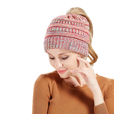 Image of Confetti Pony Tail Knit Beanie Hat - Itopfox