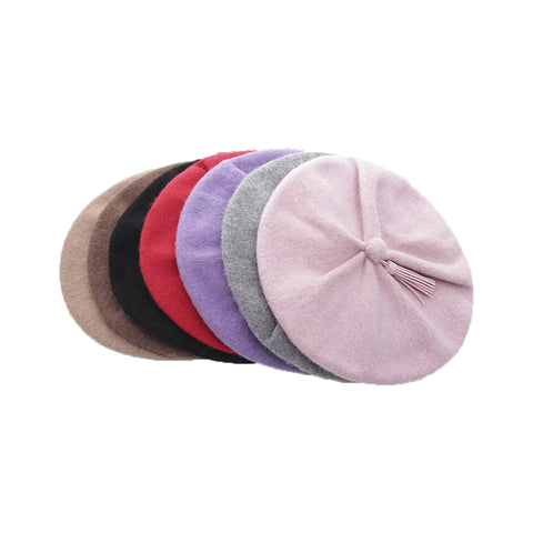 Image of Solid Color Wool Beret Hat - Itopfox