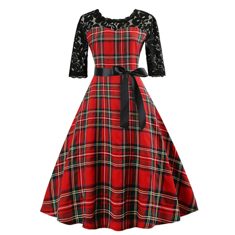 Vintage Patchwork  Hepburn Dress - Itopfox