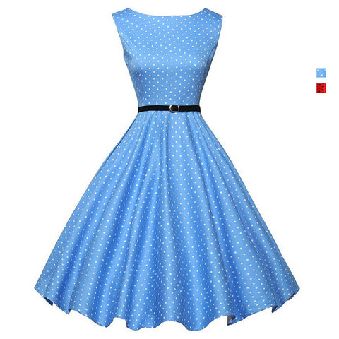 Sleeveless Polka Dots Hepburn Dress - Itopfox