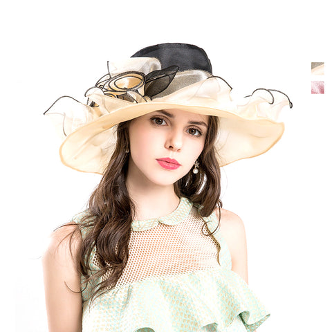 Gauze Flower Kentucky Derby Top Hat - Itopfox