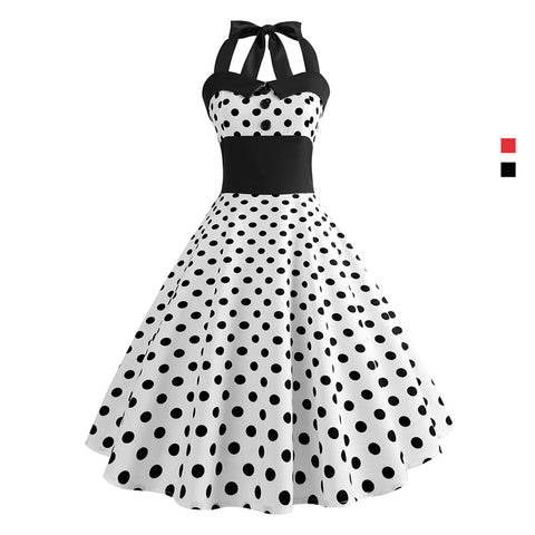 Image of Retro Polka Dots Halter Dress - Itopfox