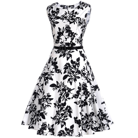 Image of Classic Vintage Floral Hepburn Dress - Itopfox