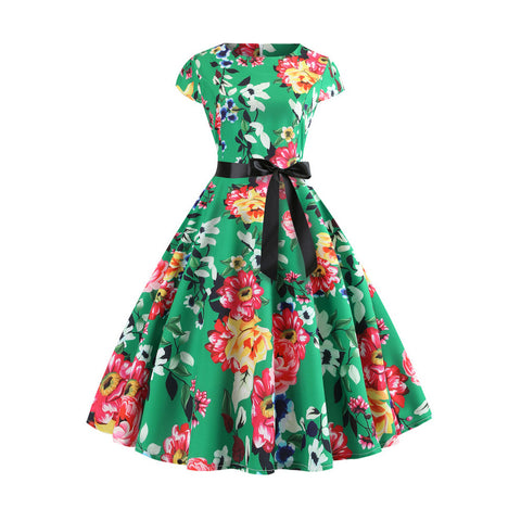 1950's Floral  Prom Party Cocktail Dress - Itopfox