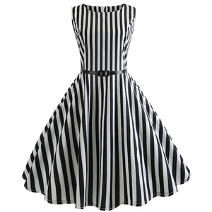 Vertical Stripe 50s Vintage Dress - Itopfox