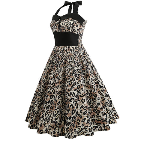 Halter Leopard 50s Retro Dress - Itopfox