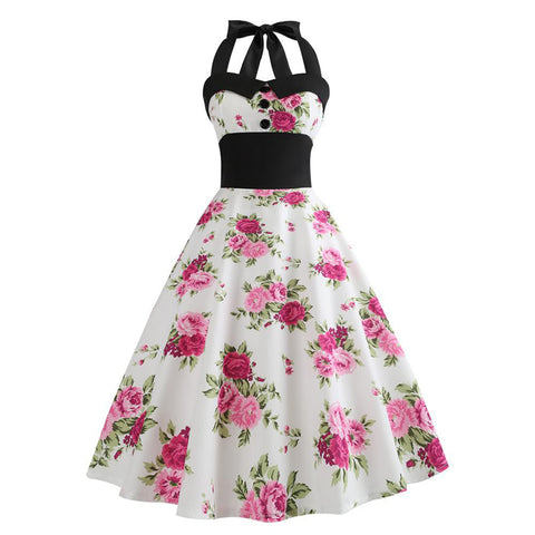 Halter Vintage Floral Dress - Itopfox