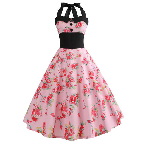 Image of Halter Retro 50s Hepburn Dress - Itopfox