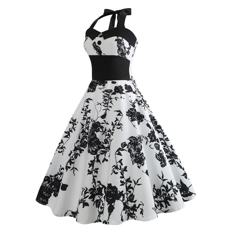 Hepburn 50s Retro Halter Dress - Itopfox