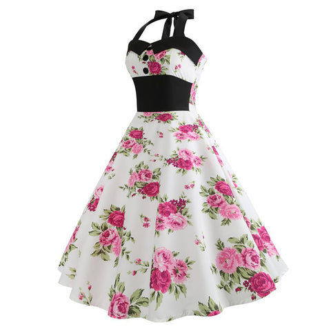 Image of Halter Vintage Floral Dress - Itopfox