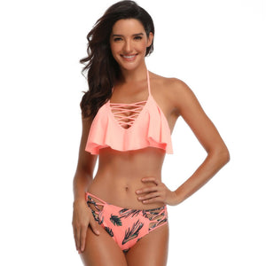 Layered Halter Two Pieces Swimwear - Itopfox