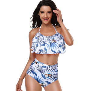Leaf Paint High Waisted Halter Swimwear - Itopfox