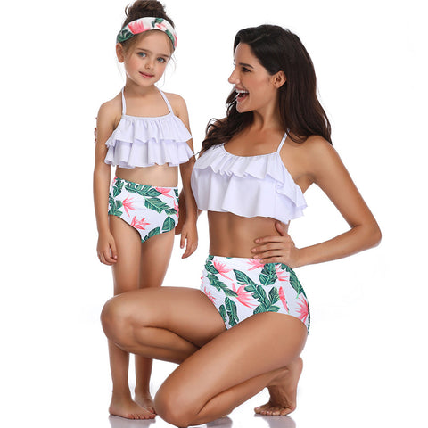 Printing Ruffled High Waist Swimsuit - Itopfox