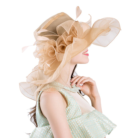 Gauze Fascinator Organza Kentucky Derby Hat - Itopfox