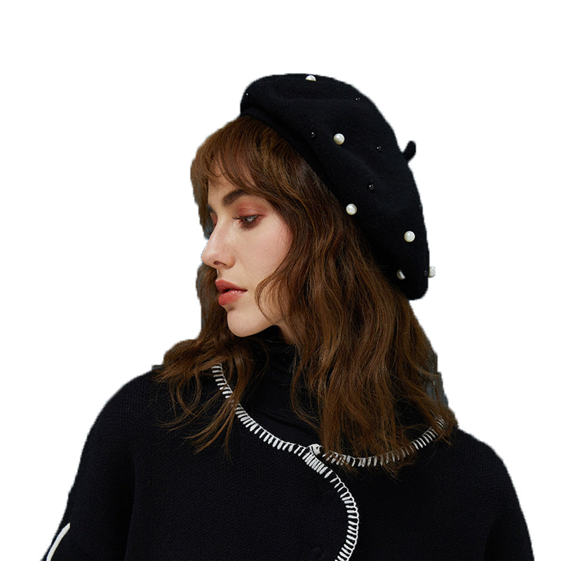 e620668d8e79b Faux Cony Hair Pearl Beret Hat. Tap to expand