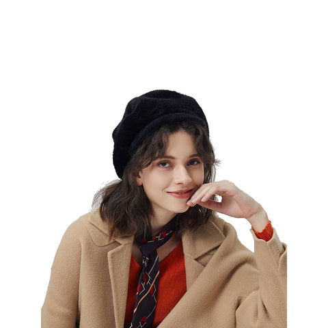 Peaked Beret Hat With Faux Wool - Itopfox