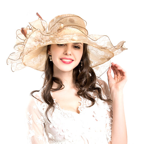 Flower Gauze Kentucky Derby Hat - Itopfox