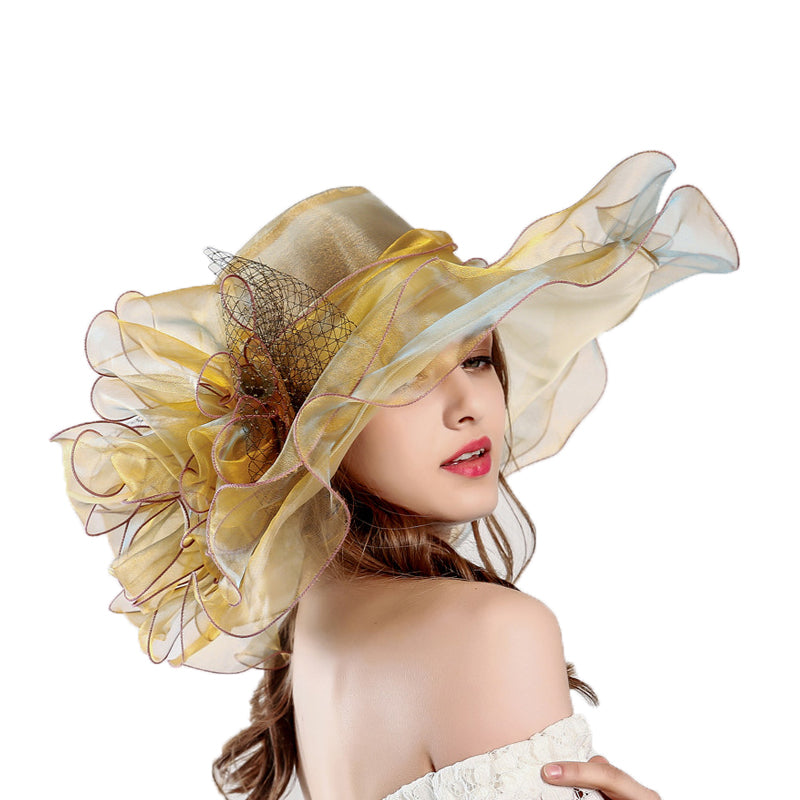 Wide Brim Organza Floppy Derby Hat - Itopfox