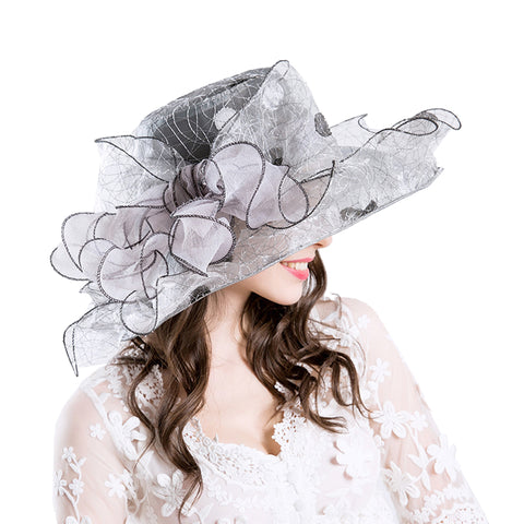 Image of Gauze Embroidery Kentucky Derby Hat - Itopfox