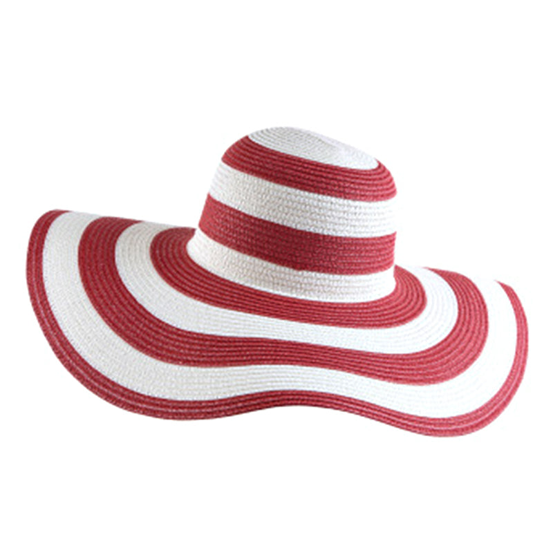 Striped Big Brim Straw Sun Hat - Itopfox