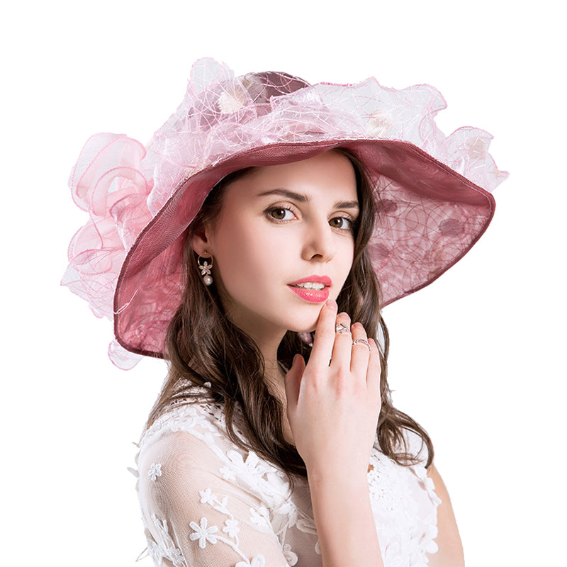 Gauze Embroidery Kentucky Derby Hat - Itopfox