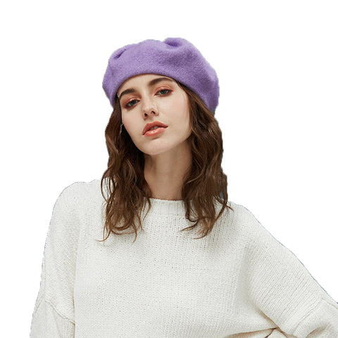 Solid Color Wool Beret Hat - Itopfox