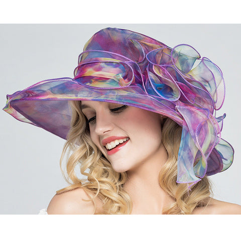 Image of Foldable Organza Church Kentucky Derby Hat - Itopfox