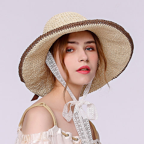 Big Brim Foldable Straw Sun Hat - Itopfox