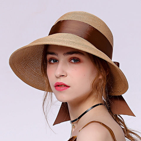 Image of Bowknot Beach Cloche Sun Hat - Itopfox