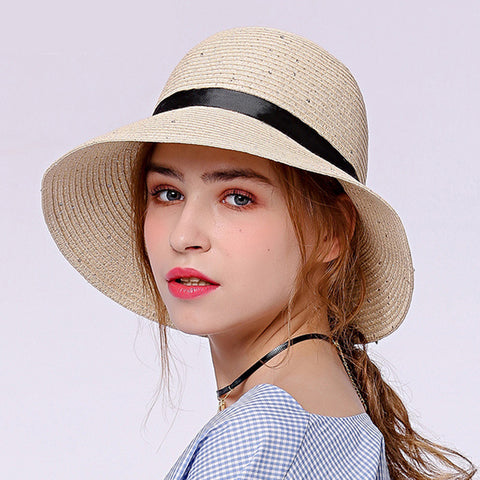 Image of Bowknot Foldable Cloche Sun Hat - Itopfox