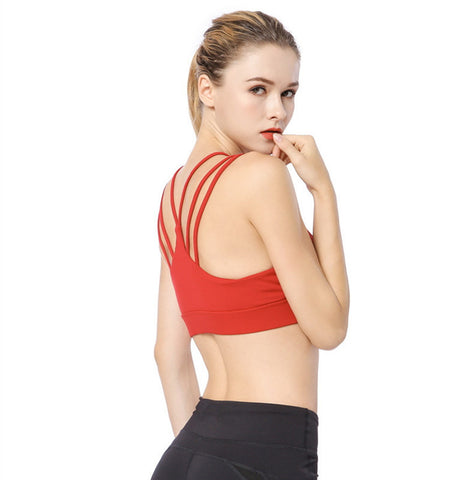 Cross Strappy Back Sports Bra - Itopfox