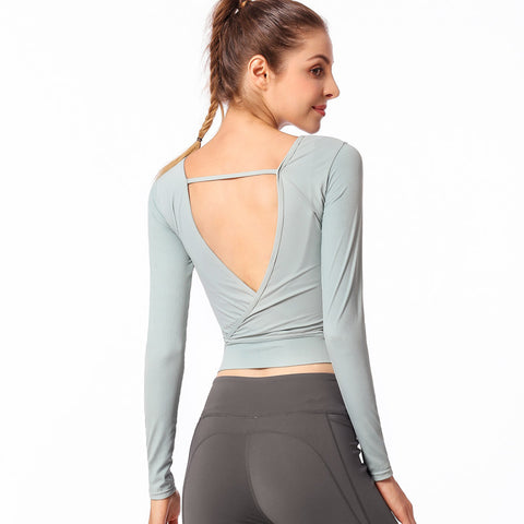 Image of Backless Long Sleeve Yoga Top - Itopfox