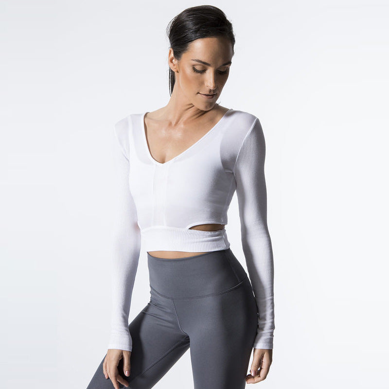 Backless Long Sleeve Yoga Top - Itopfox