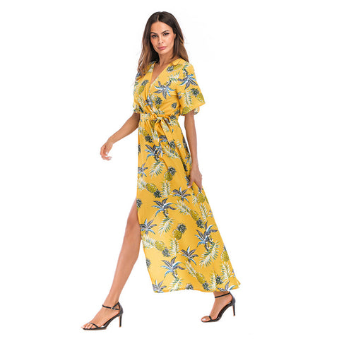 Image of V-Neck Casual Chiffon Dresses - Itopfox