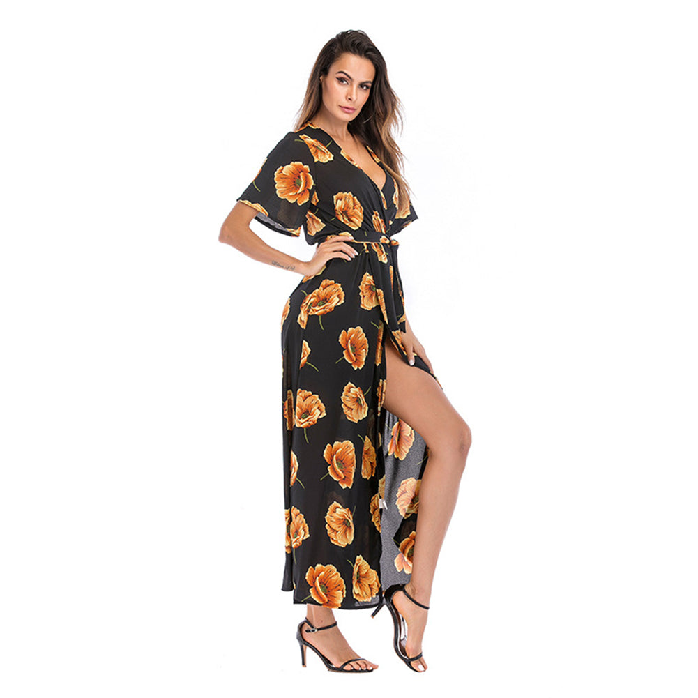V-Neck Beachwear Maxi Dress - Itopfox