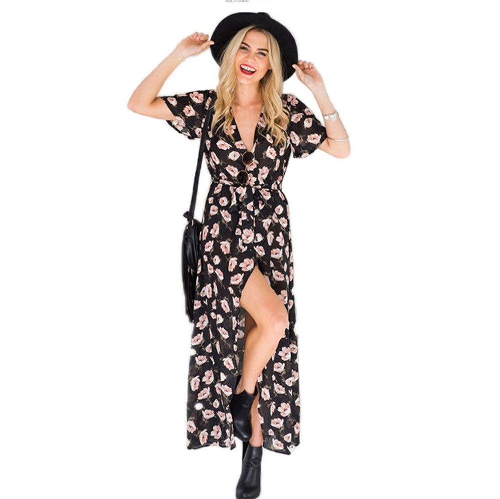 Floral Chiffon Long Dress - Itopfox